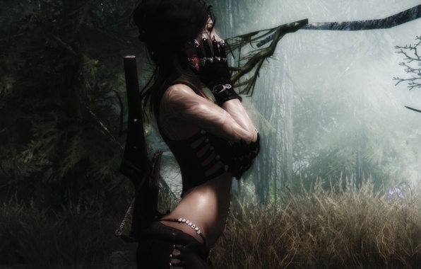 Picture forest, grass, girl, trees, weapons, gloves, Skyrim, The Elder Scrolls V Skyrim