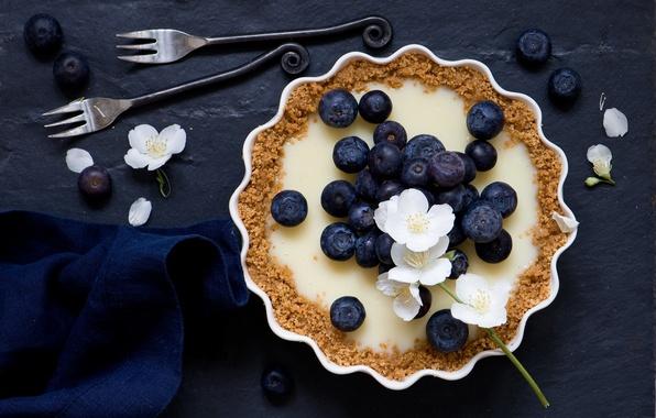 Picture berries, pie, flowers, fork, blueberries, tart