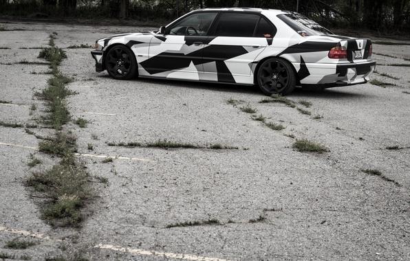 Picture BMW, Tuning, BMW, winter, Alpina, 740il, arctic camo, camo