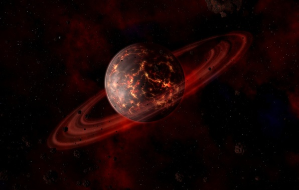 Picture space, cracked, planet, ring, lava, meteorites, red