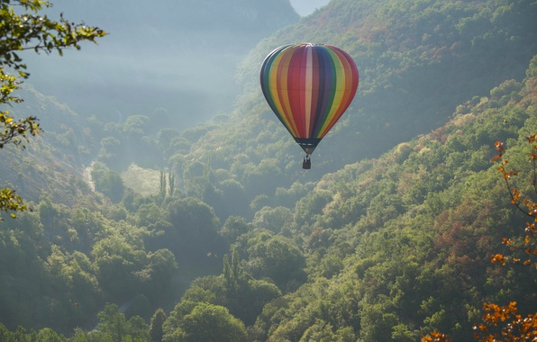 Picture mountains, balloon, France, valley, panorama, flight, France, balloon, balloon, Rocamadour, Rocamadour