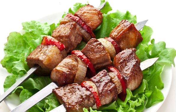 Picture meat, vegetables, kebab, meat