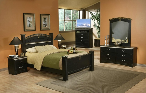Picture room, wine, pillow, TV, glasses, window, bed, pictures, fruit, table, chest, lamps