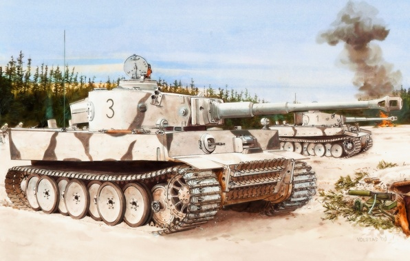 Picture winter, tiger, figure, the second world, the Germans, the Wehrmacht, heavy tank, Ron Volstad, 502 …