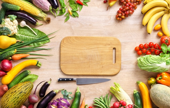 Picture corn, bow, grapes, knife, bananas, eggplant, pear, pepper, vegetables, tomatoes, cabbage, food, melon, banana, grapes, …