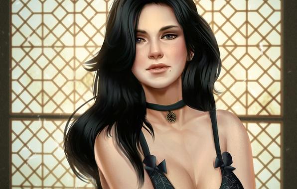 Picture chest, look, hair, art, medallion, art, the enchantress, Witcher 3: Wild Hunt, Yennefer of Vengerberg, …