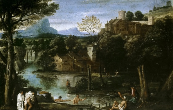Picture trees, mountains, lake, people, picture, Landscape with Bathers, Agostino Carracci