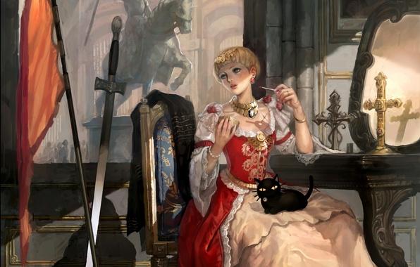 Picture girl, crosses, sword, flag, statue, Joan of arc