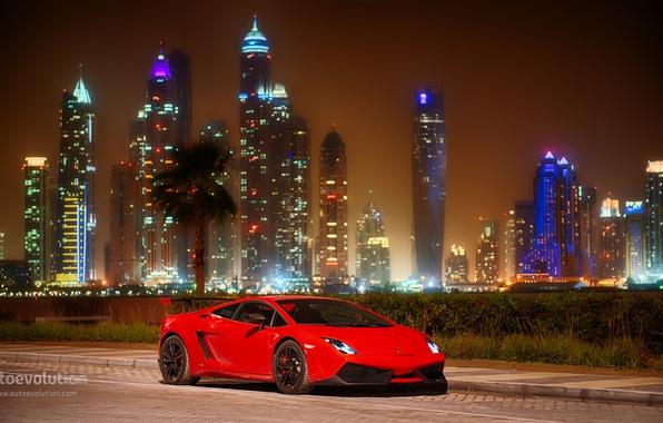 Picture car, Lamborghini, red, Gallardo, Dubai, LP570-4, Super Receive Road