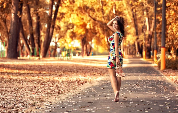 Picture autumn, leaves, girl, Park, dress, legs, the beauty, Anton Pechkurov
