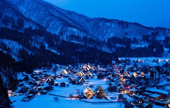 Picture winter, snow, mountains, night, lights, home, Japan, the island of Honshu, Gokayama, Shirakawa-go