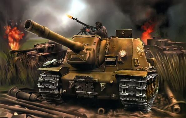 Picture art, tank, the battle, tanks, installation, army, WWII, self-propelled, artillery, SAU, right, left, caliber, ISU-152, …