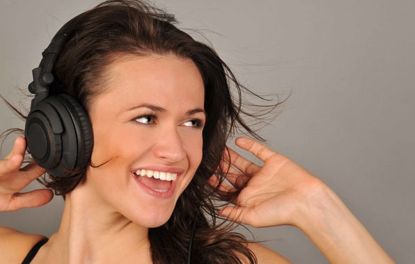 Picture girl, smile, music, background, mood, positive, headphones, brown hair, beautiful, widescreen, song, full screen, widescreen, …