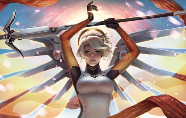 Picture look, girl, art, art, Overwatch, Mercy, Angela Ziegler