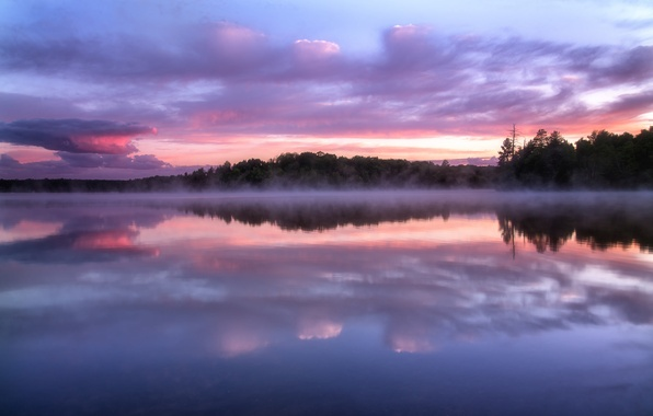 Picture forest, the sky, clouds, trees, sunset, fog, lake, reflection, the evening, Wisconsin, haze, USA