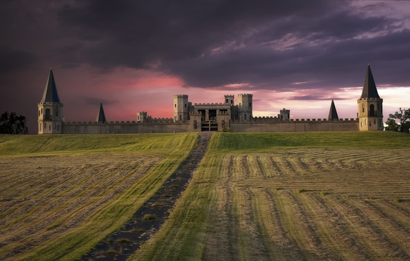 Picture field, the sky, sunset, clouds, castle, pink, the evening, USA, fortress