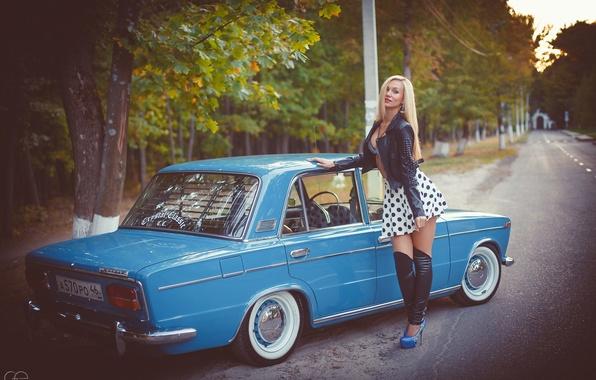 Wallpaper machine, girl, Auto, classic, Lada, auto, Lada