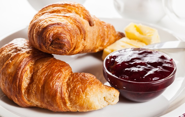 Photo wallpaper croissant, cakes, breakfast, berries, Breakfast, growing, jam, jam