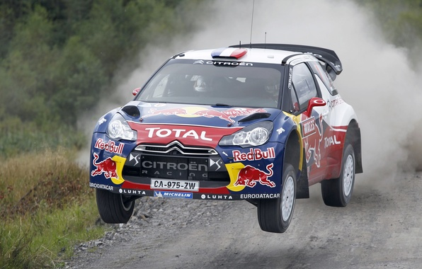 Picture Speed, Race, Citroen, Citroen, DS3, WRC, Rally, Sebastien Loeb, In the air, The front, Flies