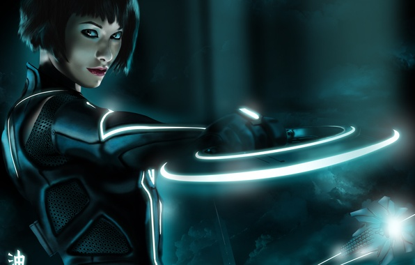 Picture look, girl, smile, ship, Olivia Wilde, Olivia Wilde, disk, art, Tron legacy, tron legacy, tiggz-sama