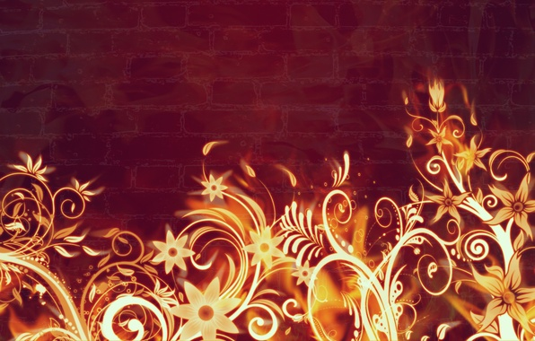 Picture flowers, fire, flame, abstract, burn