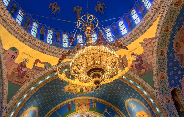 Picture Chicago, chandelier, USA, Il, the dome, religion, the Church of Saints Vladimir and Olga, the …