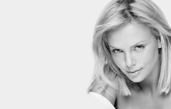 Picture look, girl, face, smile, background, Charlize Theron, hair, b/W, actress, beauty, Charlize Theron, black and …