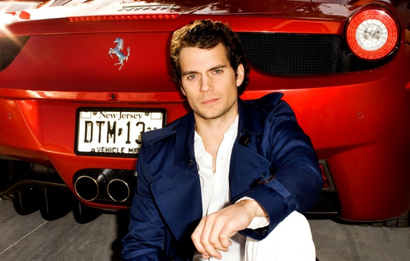 Picture machine, actor, male, red, Henry Cavill, Henry Cavill, Ferrari 458 Spider