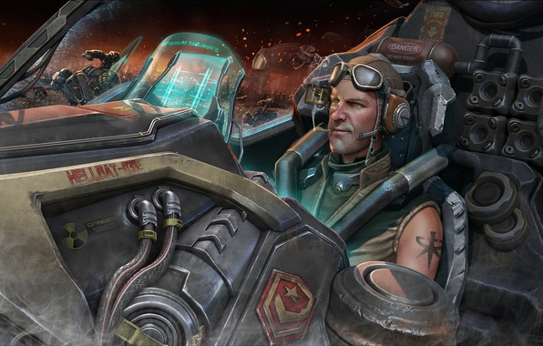 Picture ship, tattoo, art, glasses, cigarette, tattoo, helmet, cabin, male, smokes, STARCRAFT 2