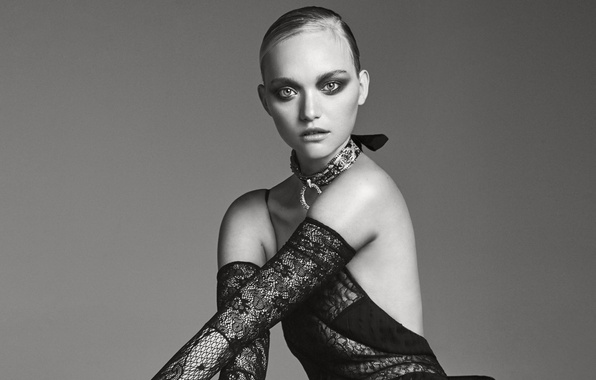 Picture pose, background, model, makeup, dress, hairstyle, outfit, black and white, photoshoot, It, Gemma Ward, Gemma ...