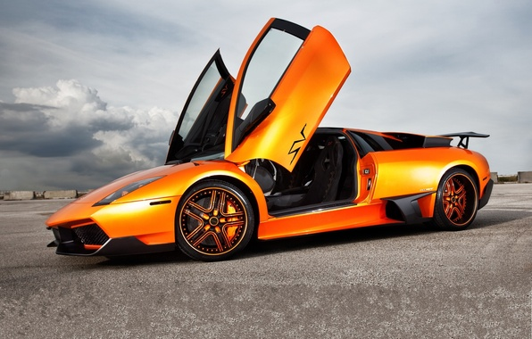 Picture the sky, orange, clouds, profile, lamborghini, drives, murcielago, orange, Lamborghini, guillotine, Murcielago, doors, LP670-SV