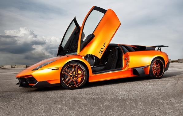 Picture the sky, orange, clouds, profile, lamborghini, drives, murcielago, orange, Lamborghini, guillotine, Murcielago, doors, LP670-SV