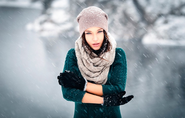Picture snow, the wind, gloves, cap, Winter is coming, Angelina Petrova, Denis Petrov