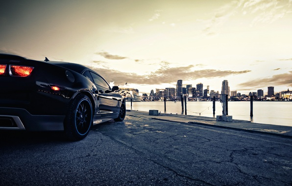 Picture the city, lights, Chevrolet, Camaro, cars, auto