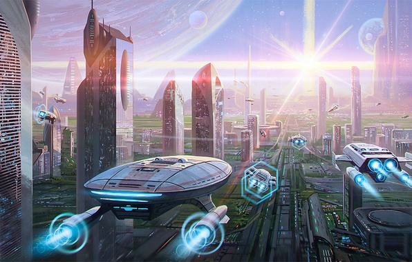 Picture the city, fiction, transport, planet, skyscrapers, megapolis, art, the world of the future