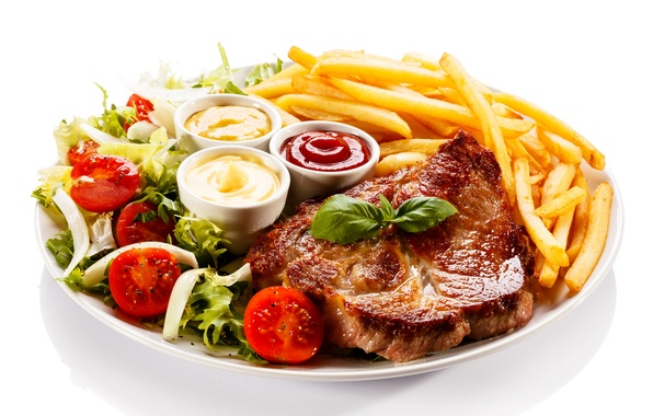 Picture meat, tomatoes, sauce, ketchup, potatoes, meat, steak, tomato, sauce, steak
