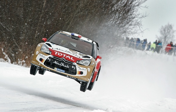 Picture Winter, Snow, Citroen, DS3, WRC, Rally, Sebastien Loeb, The front, In The Air, Flies, Daniel …