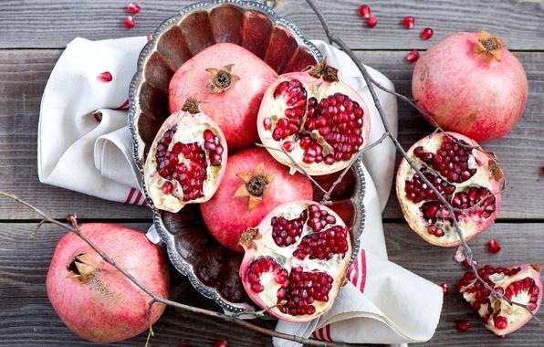 Picture winter, branches, grain, plate, red, fruit, still life, grenades, twigs, Anna Verdina