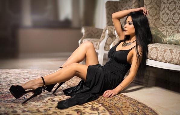 Picture legs, model, brunette, black dress, heels, Marina Shimkovitz