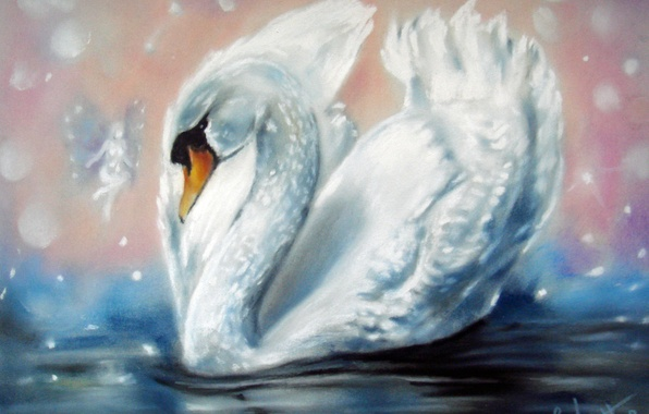Picture white, water, wings, fairy, Swan, painting