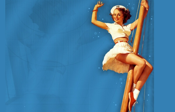 Picture girl, smile, sailor, mast, gesture, takes, art, blue background, pin-up, Gil Elvgren