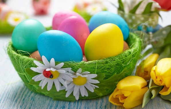 Picture flowers, eggs, Easter, tulips, Easter eggs