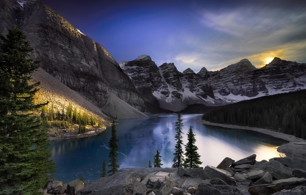 Picture forest, landscape, mountains, lake, Alberta, Canada, Lake