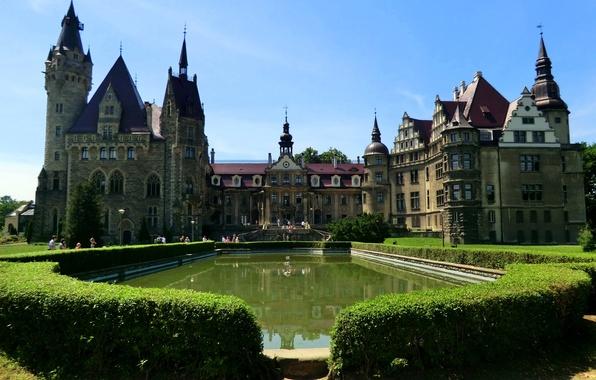 Picture the city, photo, castle, Poland, the bushes, fountains, Moszna Castle