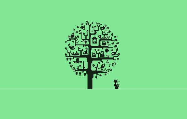 Picture cat, tree, minimalism, minimalism, cat