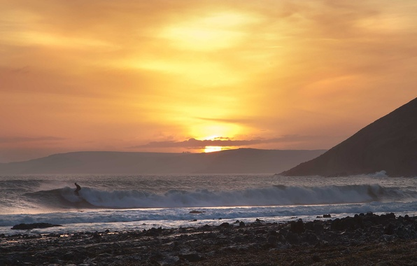 Picture sea, wave, beach, sunset, surfing