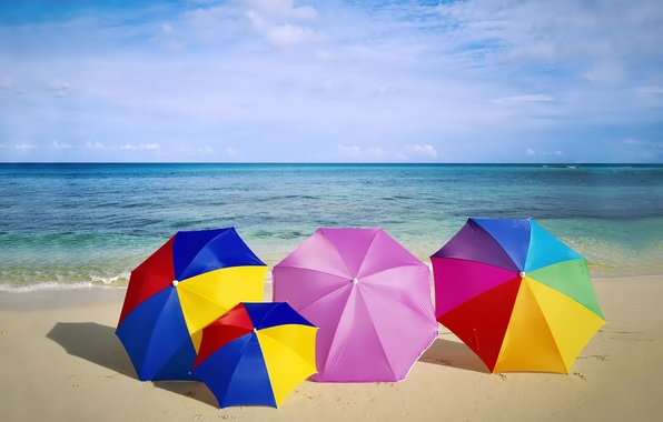 Picture sand, sea, beach, summer, the sky, horizon, umbrellas