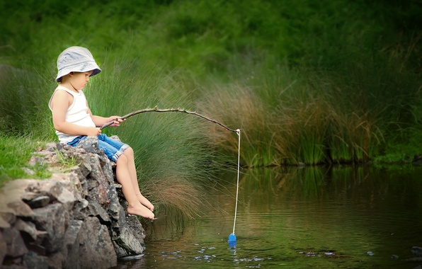 Picture summer, river, fishing, boy