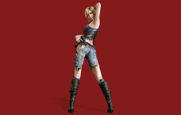 Picture look, girl, pose, the game, boots, red background, Parasite Eve, Aya Brea, The 3rd birthday, …