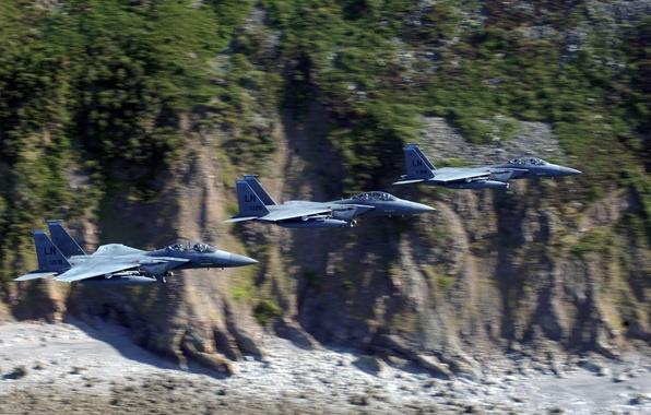 Photo wallpaper link, F-15, rocks, flight, istribiteli